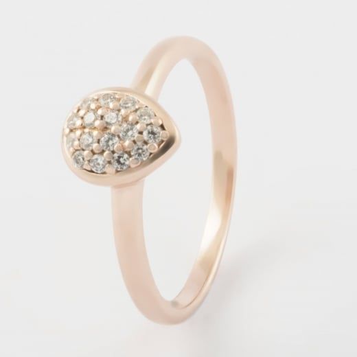 Virtue Exquisite Tear Drop Rose Gold CZ Ring