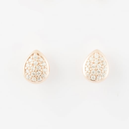 Virtue Exquisite Tear Drop Rose Gold CZ Stud Earrings