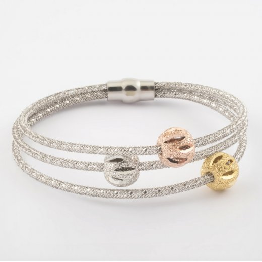Virtue Exquisite Triple Mesh and Bead Magnetic Bracelet