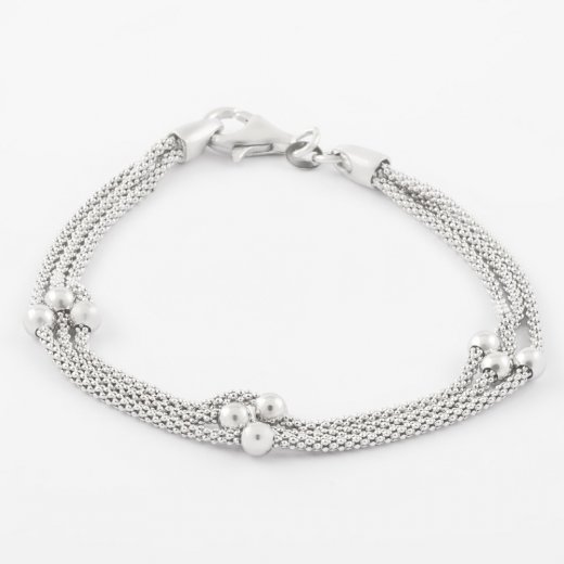 Virtue Exquisite Triple Silver Bead Bracelet