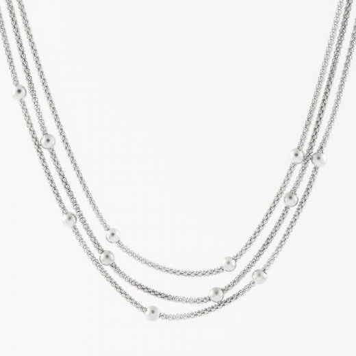 Virtue Exquisite Triple Silver Bead Necklace