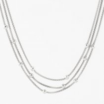 Triple Silver Bead Necklace