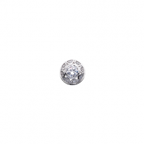 10mm Silver Dome Cubic Zirconia Disc