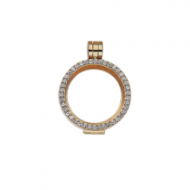 23mm Gold with Cubic Zirconia Locket