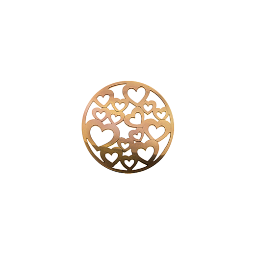 Virtue Keepsake 23mm Rose Gold Hearts Cut Out Disc