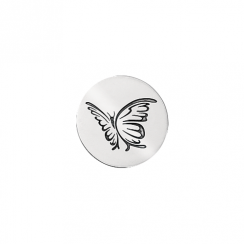23mm Silver Butterfly Oxidised Disc