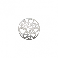 23mm Silver Heart Cut Out Disc