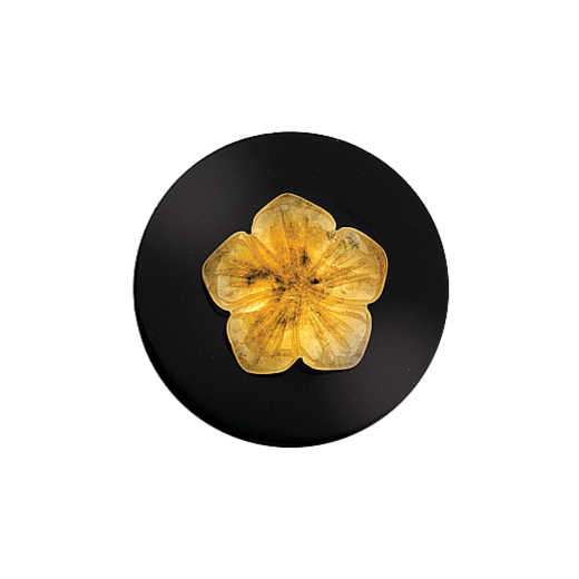 Virtue Keepsake 32mm Calcite Flower on Onyx Disc