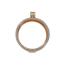 32mm Gold with Cubic Zirconia Locket