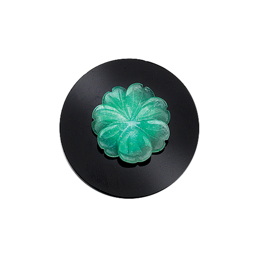 Virtue Keepsake 32mm Green Flower on Onyx Disc