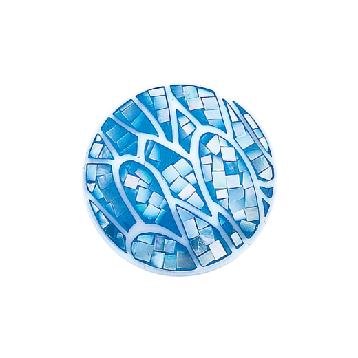 Virtue Keepsake 32mm Mother of Pearl Blue Wavy Disc