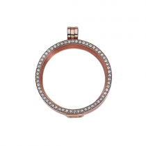 32mm Rose Gold with Cubic Zirconia Locket