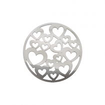 32mm Silver Heart Cut Out Disc