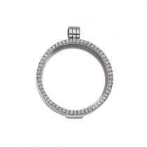 32mm Silver with Cubic Zirconia Locket