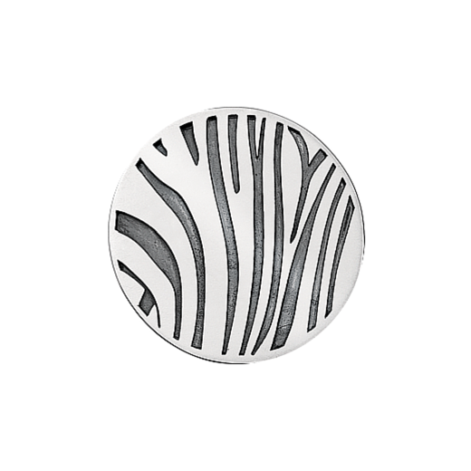 Virtue Keepsake 32mm Silver Zebra Oxidised Disc