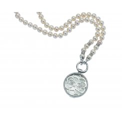 Complete Silver and Pearl Flower Locket