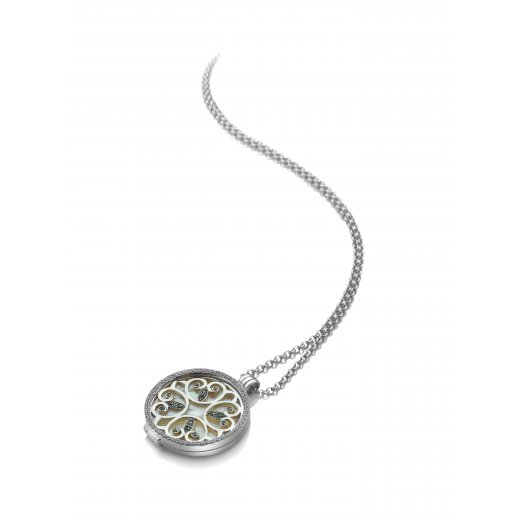 Virtue Keepsake Complete Silver Floral Marcasite Locket