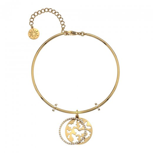 Virtue Keepsake Gold CZ and Butterfly Bangle