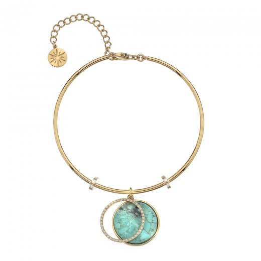 Virtue Keepsake Gold CZ and Turquoise Bangle