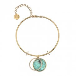 Gold CZ and Turquoise Bangle