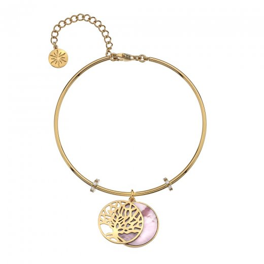 Virtue Keepsake Gold Tree of Life and Pink Mother of Pearl Bangle