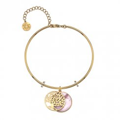 Gold Tree of Life and Pink Mother of Pearl Bangle