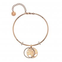 Rose Gold CZ Tree of Life Bangle