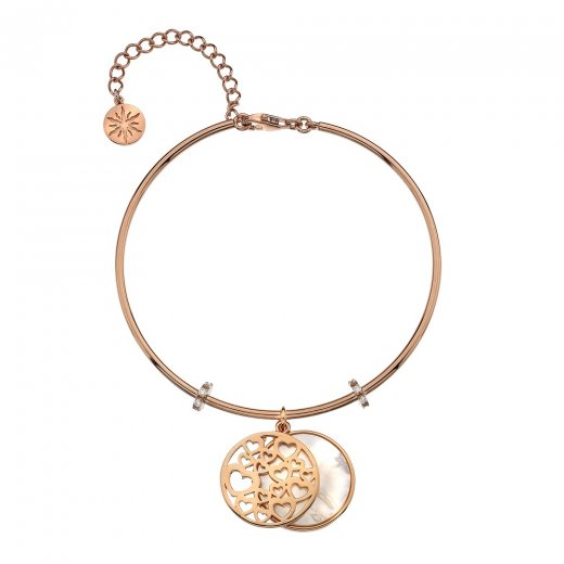 Virtue Keepsake Rose Gold Pink Mother of Pearl and Hearts Bangle