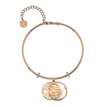 Rose Gold Pink Mother of Pearl and Hearts Bangle