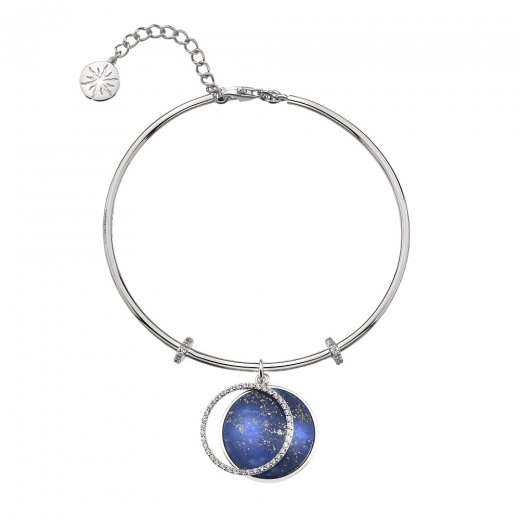 Virtue Keepsake Silver CZ and Lapis Bangle