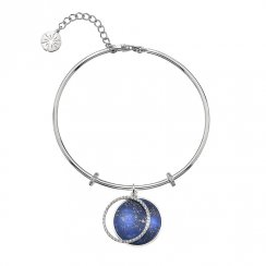 Silver CZ and Lapis Bangle
