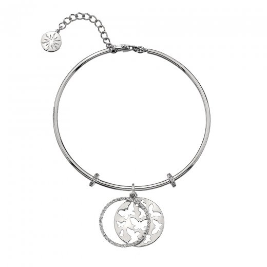 Virtue Keepsake Silver CZ Butterfly Bangle