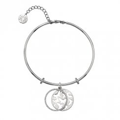 Silver CZ Butterfly Bangle