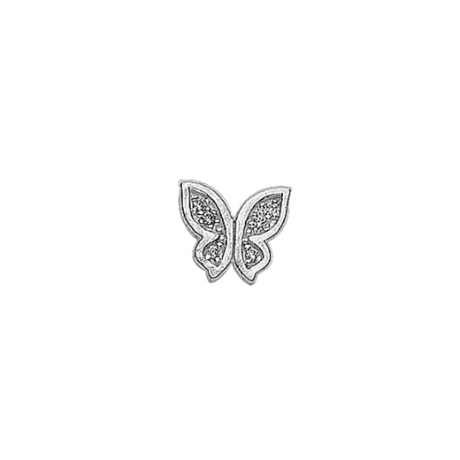 Virtue Keepsake Silver CZ Butterfly Floating Charm
