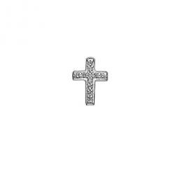 Silver CZ Cross Floating Charm