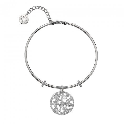 Virtue Keepsake Silver CZ Filigree Bangle