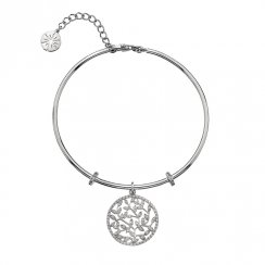 Silver CZ Leaves Bangle