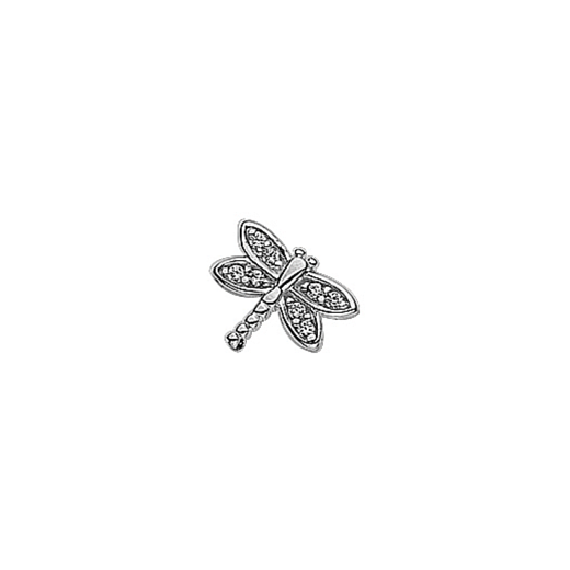 Virtue Keepsake Silver CZ Small Dragonfly Charm