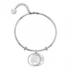 Silver CZ Tree of Life Bangle