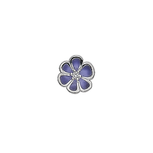 Virtue Keepsake Silver Purple Enamel Flower Floating Charm