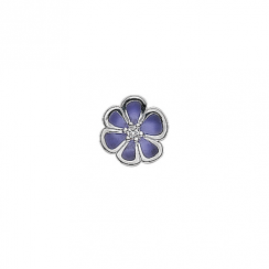 Silver Purple Enamel Flower Floating Charm