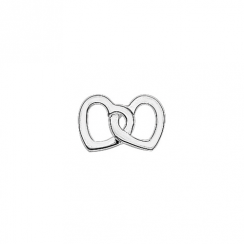 Silver Two Hearts as One Floating Charm