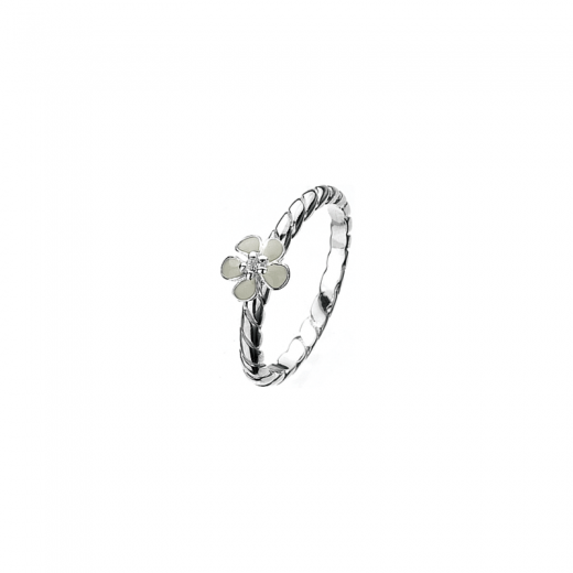 Virtue Stack Rings White Geranium